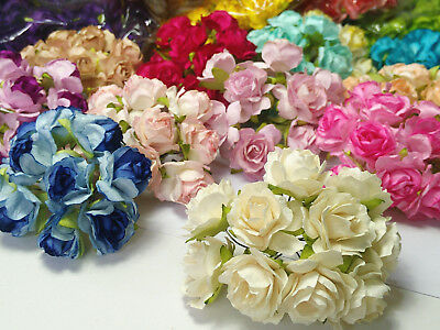 10 of Rose Flower Mulberry Paper Scrapbooking Card Crafts 3-3.50cm Many Color