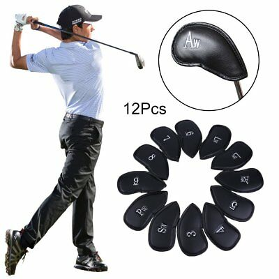 12Pcs Golf Club Iron Putter Head Covers Headcovers PU Leather Protect Case SA