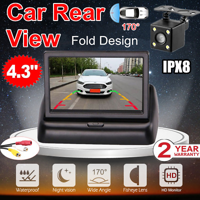 "Wired HD Car Reversing Camera 170°+ 4.3"" LCD Monitor Rear View Night Vision"