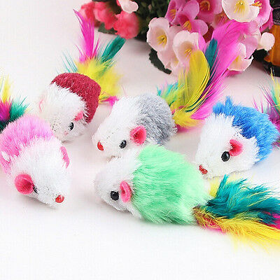 10Pcs Soft Fleece False Mouse Cat Toys Colorful Feather Funny Playing Toys EB