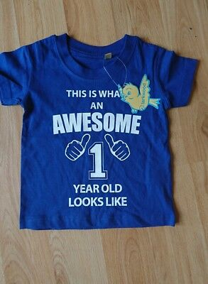 Baby boys I am an Awesome One year T shirt New with Tags Age 12/18'months *CUTE*