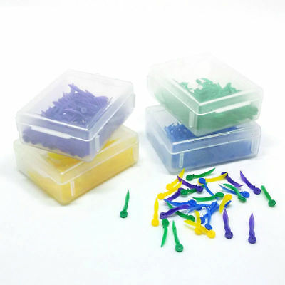 100 PCS Dental Plastic Poly-Wedges with Holes Round Stern 4 Colors 4 Sizes