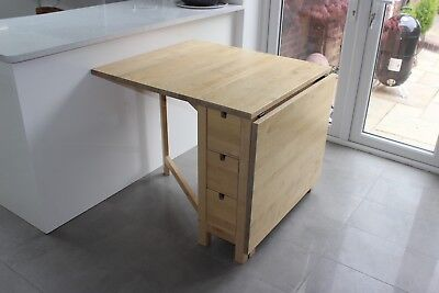 Ikea Norden Gateleg Table In Beech/birch With 6 Handy Drawers.
