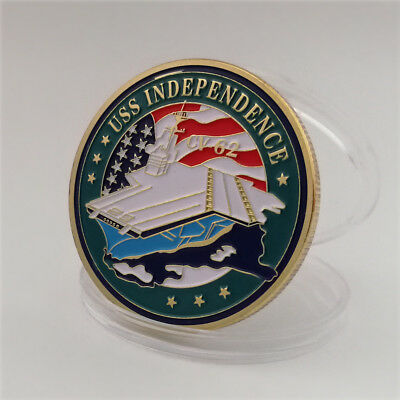 US NAVY - USS Independence CV-62 Challenge Coin Commemorative Coin +Protect Case