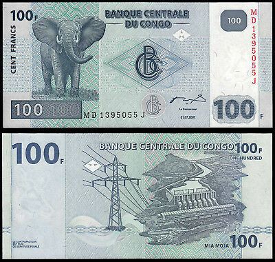 Congo Democratic Republic 100 Francs (P98) 2007 Unc