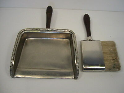 Vintage Silver Plated Crumb Tray With Brush