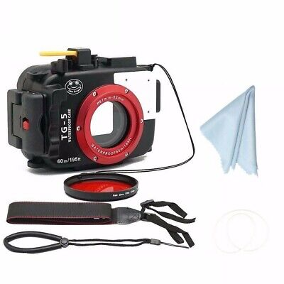 SeaFrogs 60m/195ft Underwater Camera Housings Case for Olympus TG-5 w/Red Filter