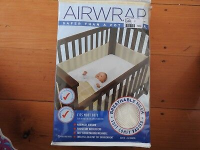 SEALED Cream AIRWRAP COT BED PROTECTOR / LINER /SAFETY BUMPER CHILD BABY -Kedron