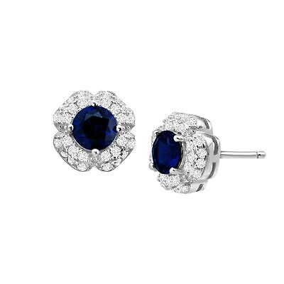 1 1/2 ct Created Blue & White Sapphire Stud Earrings in Sterling Silver