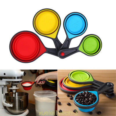 Kitchen Silicone Healthy Measuring Cups Spoon Collapsible Baking Cooking Tools