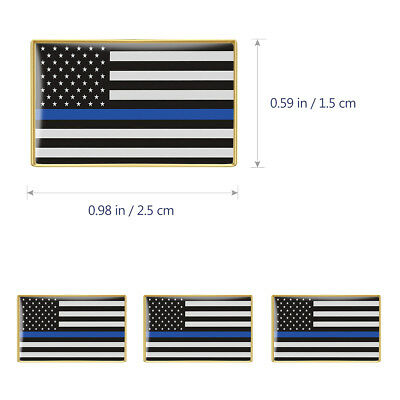 6PcsThin Blue Line American Flag Police Lapel Pin Tie Tac Hat Pin Support Police