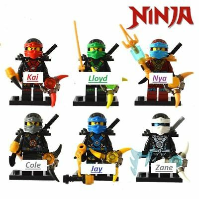 Ninjago Toy Boys Ninja Mini Figures X 6 Kai,Cole,Lloyd,Nya,Jay & Zane fit lego D