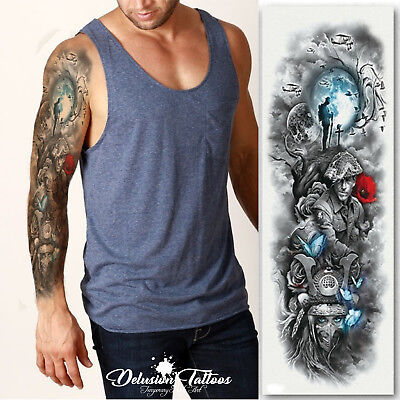 Realistic Temporary Tattoo Sleeve, War, Soldier, Butterfly, Tree, Mens, Womens