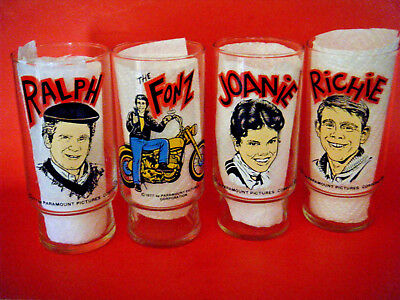 4 Lot - Happy Days Collector Glasses  Dr Pepper 1970's Fonz Richie Joanie Ralph