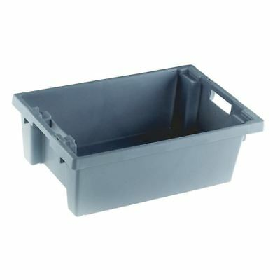VFM Grey Solid Slide Stack/Nesting Container 32 Litre 382963 [SBY24789]