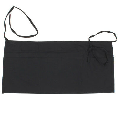 Pack of 2, Apron  Bib Bistro Bar Cafe Pub Waiter Waitress - Half Size BLACK