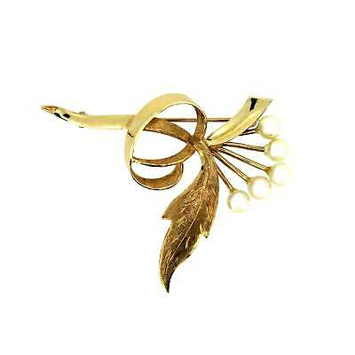 Ladies Hallmarked 14ct Yellow Gold Feminine Wedding Pearl Flower Brooch