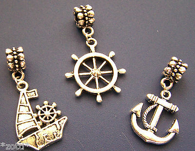 Necklace Pendant Marine Anchor Sailing Boat Steering Wheel Antique Silver TAX