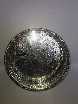 Vintage Circular Viners Alpha Plate Gallery Galleried Silver Plated Chased Tray