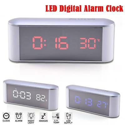 Mirror LED Digital Display Snooze Alarm Clock Time Temperature Bedside Touch