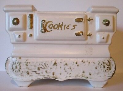 McCoy White Cooking Stove Cookie Jar Hand Decorated Pre-Owned NO LID
