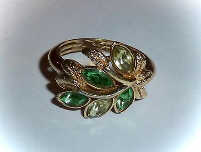 VINTAGE 1974 *CITRINE LEAF LIGHTS* RING - 2-TONE GREEN in GOLDTONE - SZ M(6-7)