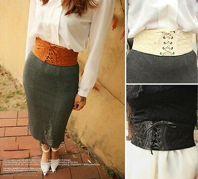 Women PU Leather Lace Corset Waistband Wide Elastic Stretch Lace Up Waist Belt