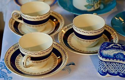 50's Vintage 3 Crown Ducal Small Cups & Saucers Blue and Gold Pattern