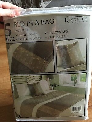 kingsize bed in a bag browns and creams brand new