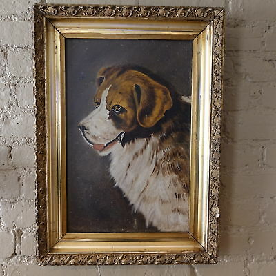 19thC Antique Old-Style Bernese Mountain Dog Portrait Original Oil Painting