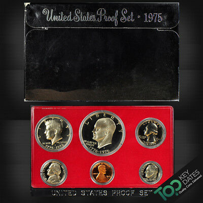 1975-S Us Mint Proof Set Cn Clad ~ 6 Coins Orig Box ~ Gem Proof ~ #p75Bag