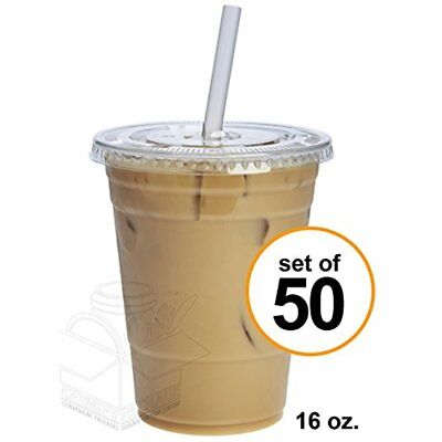 50 Sets 16 Oz. Plastic CRYSTAL CLEAR Cups With Lids For Cold Drinks, Iced Bubble