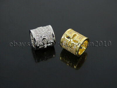 Clear Zircon Gemstones Pave Cross Tube Bracelet Connector Charm Beads Silver
