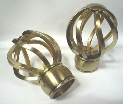 35mm TWIST CAGE CURTAIN POLE FINIALS END METAL BRASS EFFECT NEW