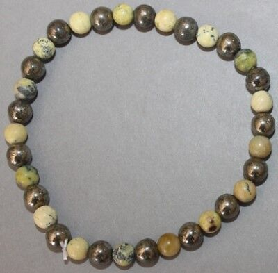 "Bracelet Pyrite et Serpentine 6 mm ""Large"""