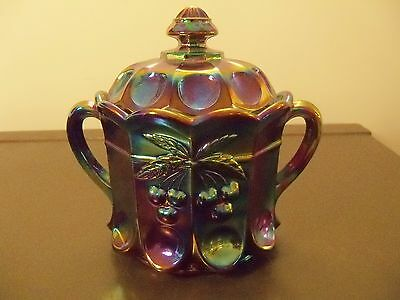 Mosser Amethyst Carnival Glass Cherry & Cable Covered Biscuit Cracker Jar 3303