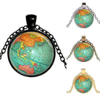 Globe pendant necklace 199 picclick uk lx women necklace globe planet earth world map pendant ball chain jewelry dre gumiabroncs Gallery