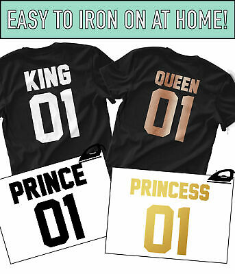 King Queen Family Iron On T Shirt Transfer Prince Princess Brother Sister Vinyl