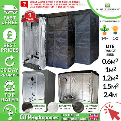 Lighthouse LITE Grow Tents - Budget Portable Grow Rooms - Range of Sizes/Spec