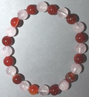 "Bracelet Cornaline et Quartz rose 8 mm ""Large"""