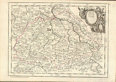 1748 le Rouge hand outline Map of HAUTE SAXE (Upper Saxony)  Rare