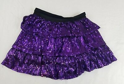 Girl's Children's Place Skirt Purple Sequin 12 Ruffle Lined Stretch         S3-5
