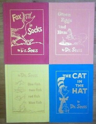 4 Dr. Seuss Rare Hardcover Books With Gold Lettering The Cat In Hat Fox In Socks