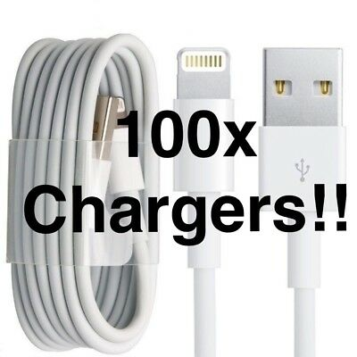 100x iPhone 5 6 7 USB data Charging Cable lead WHOLESALE JOB LOT