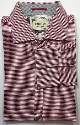 3cdc3621f Ted Baker Archive Men Long Sleeve Dress Shirt Houndstooth Red White 16.5  Cotton