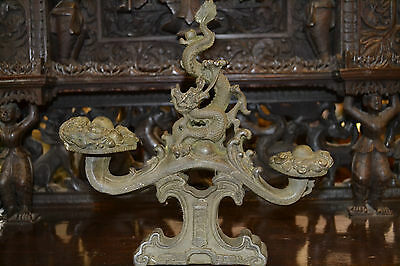 Stunning large Antique 19th century Chinese bronze rest in dragon form, c1850