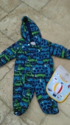 baby boys blue zoo snow suit & pack of new bibs mothercare 3_6 mths