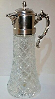 """Vintage Godinger Crystal & Silver handle and lid Decanter Crystal Italy 14"""" Tall"""
