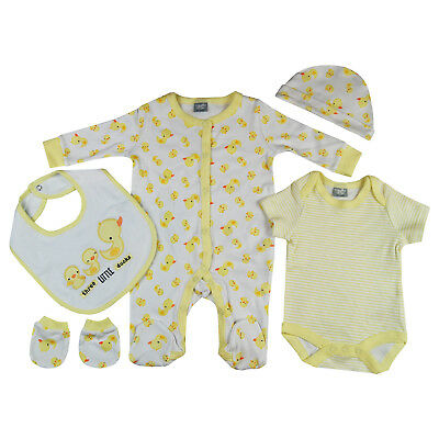 5 PC Baby Boys Girls Unisex Clothing Layette Gift Set Cute Little Ducks Theme