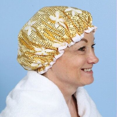 Sparkling Sequined Gold Shower Bathing Cap Water Proof Dry Fashionable Fun